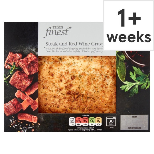 Tesco Finest Steak & Red Wine Gravy Pie 500G - Tesco Groceries