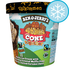 image 1 of Ben & Jerry's Vanilla Ice Cream Chocolate Waffle Cone Salted Caramel 465Ml