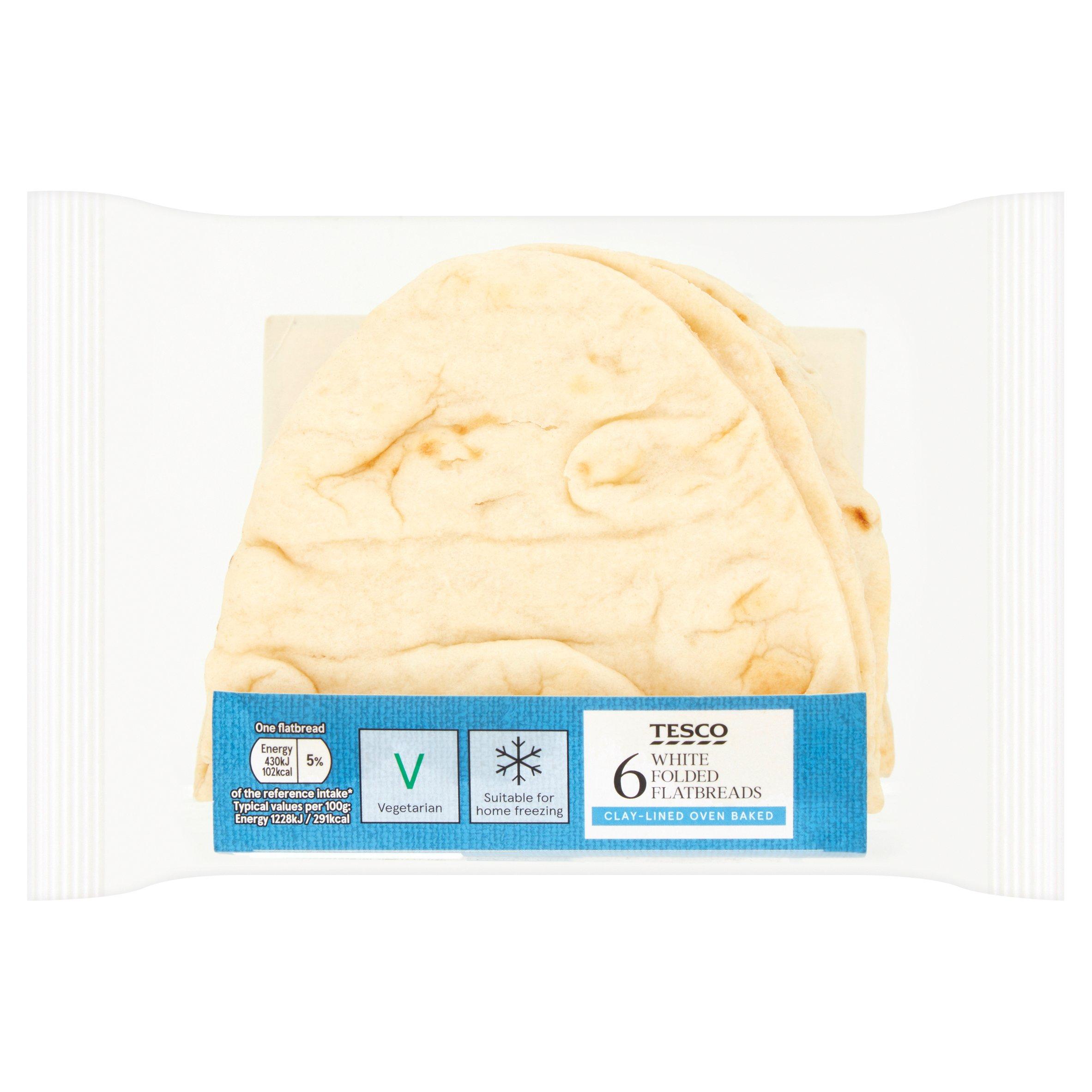 Tesco Folded Flatbreads Plain 6 Pack