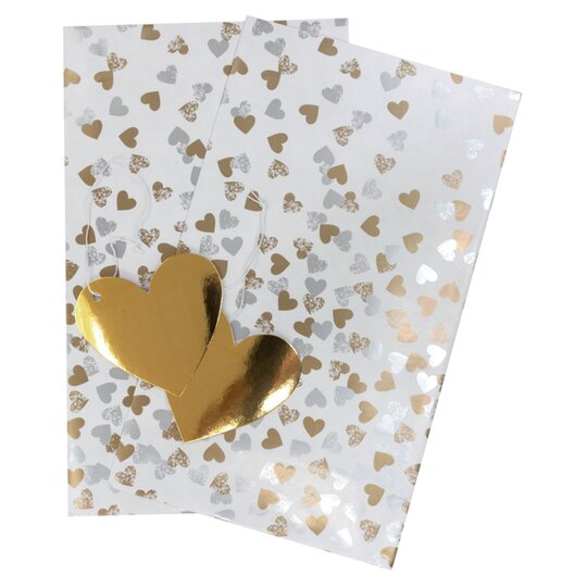 Tesco Silver Gold Falling Hearts 2 Sheet 2 Tag Tesco Groceries