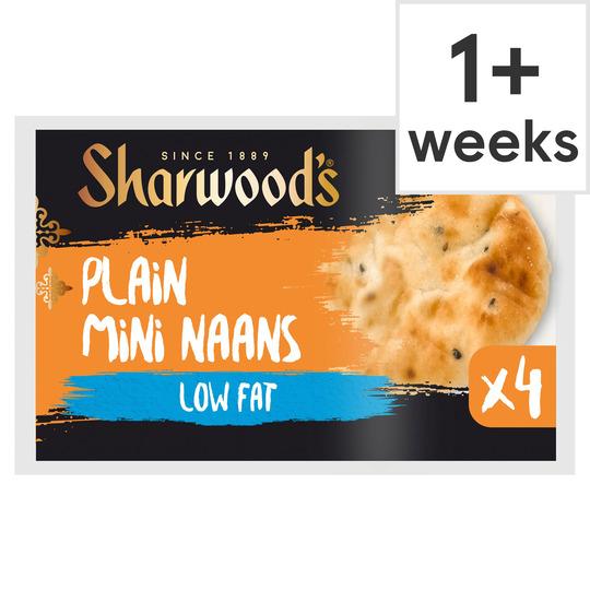Sharwood's 4 Plain Mini Naans Low Fat 260G