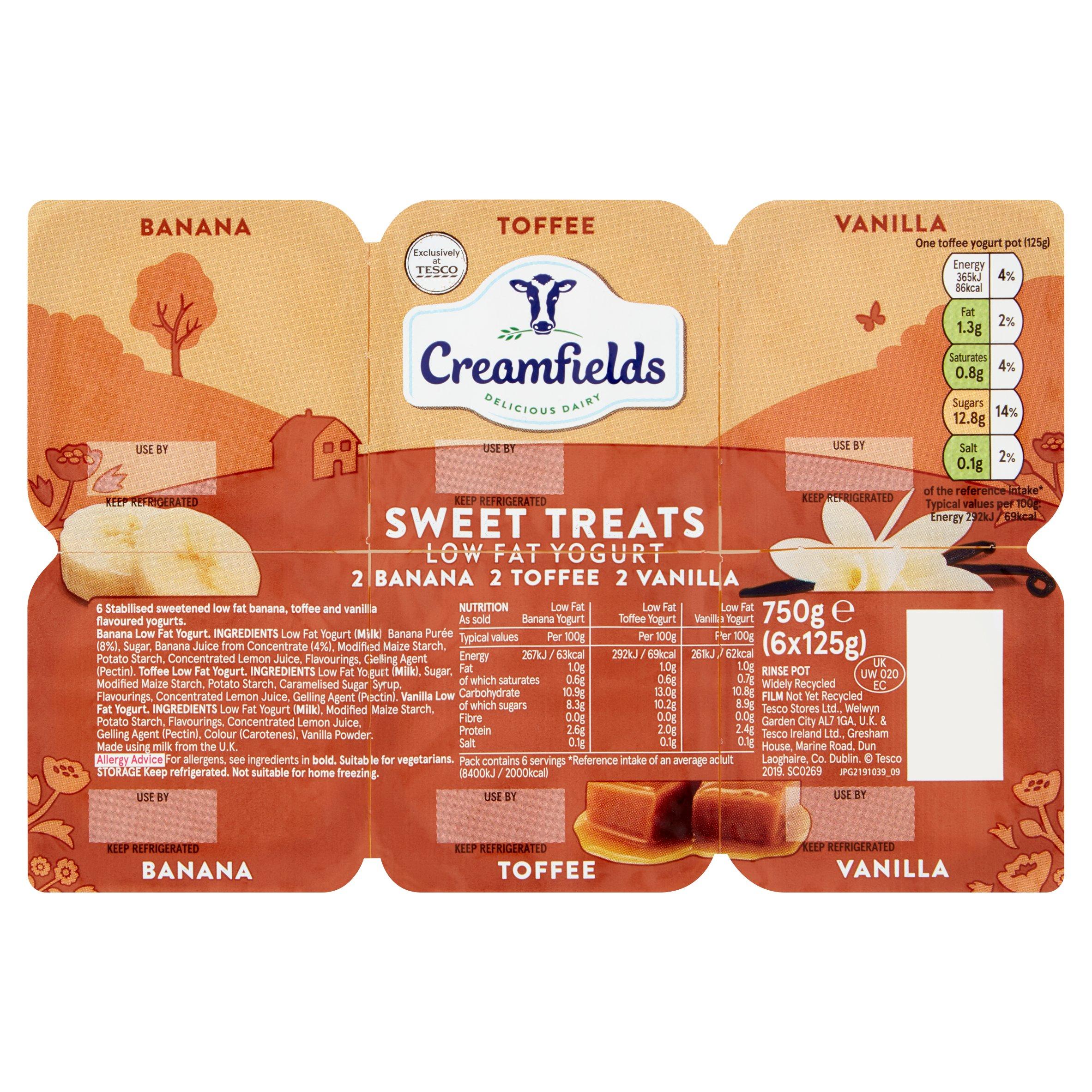 Creamfields Low Fat Sweet Treats Yogurt 6X125g