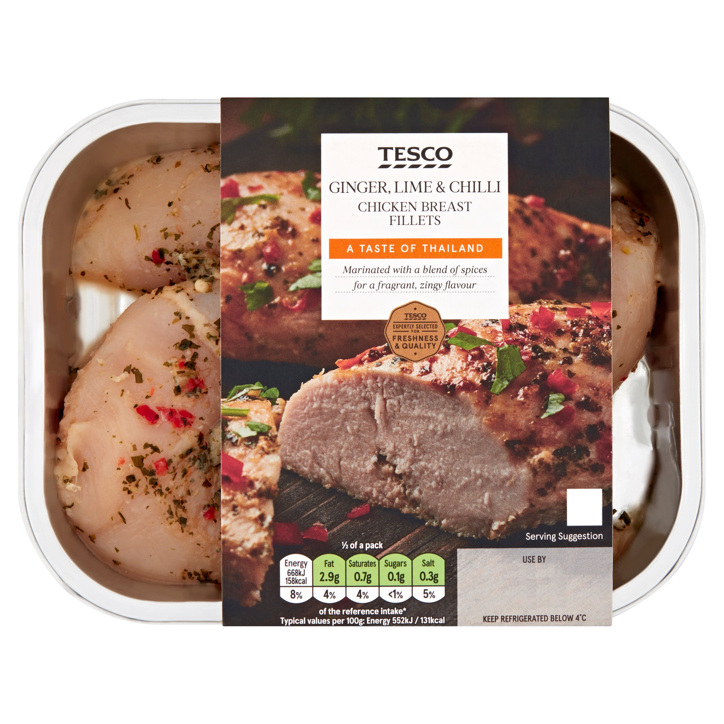 Tesco Ginger, Lime & Chilli Chicken Breasts 290G