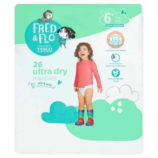 Fred & Flo 26 Ultra Dry Nappies S6+