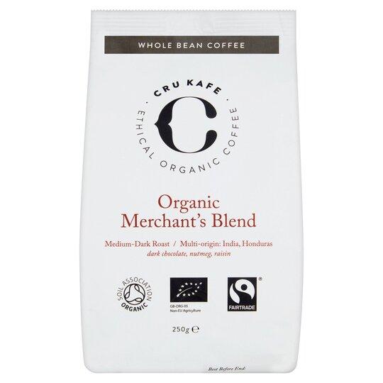 Cru Kafe Organic Merchants Blend Coffee Beans 250G