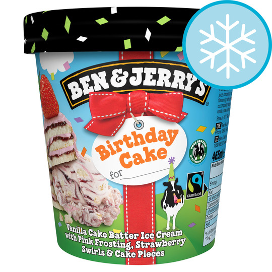Awe Inspiring Ben Jerrys Birthday Cake Vanilla Ice Cream 465Ml Tesco Groceries Funny Birthday Cards Online Inifodamsfinfo