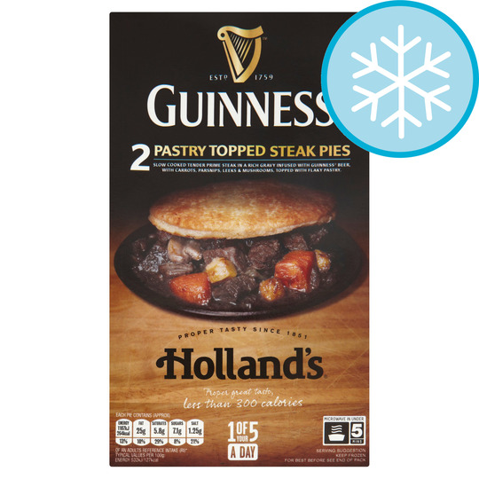 HOLLANDS 2 GUINNESS PASTRY TOP STEAK PIES - Tesco Groceries
