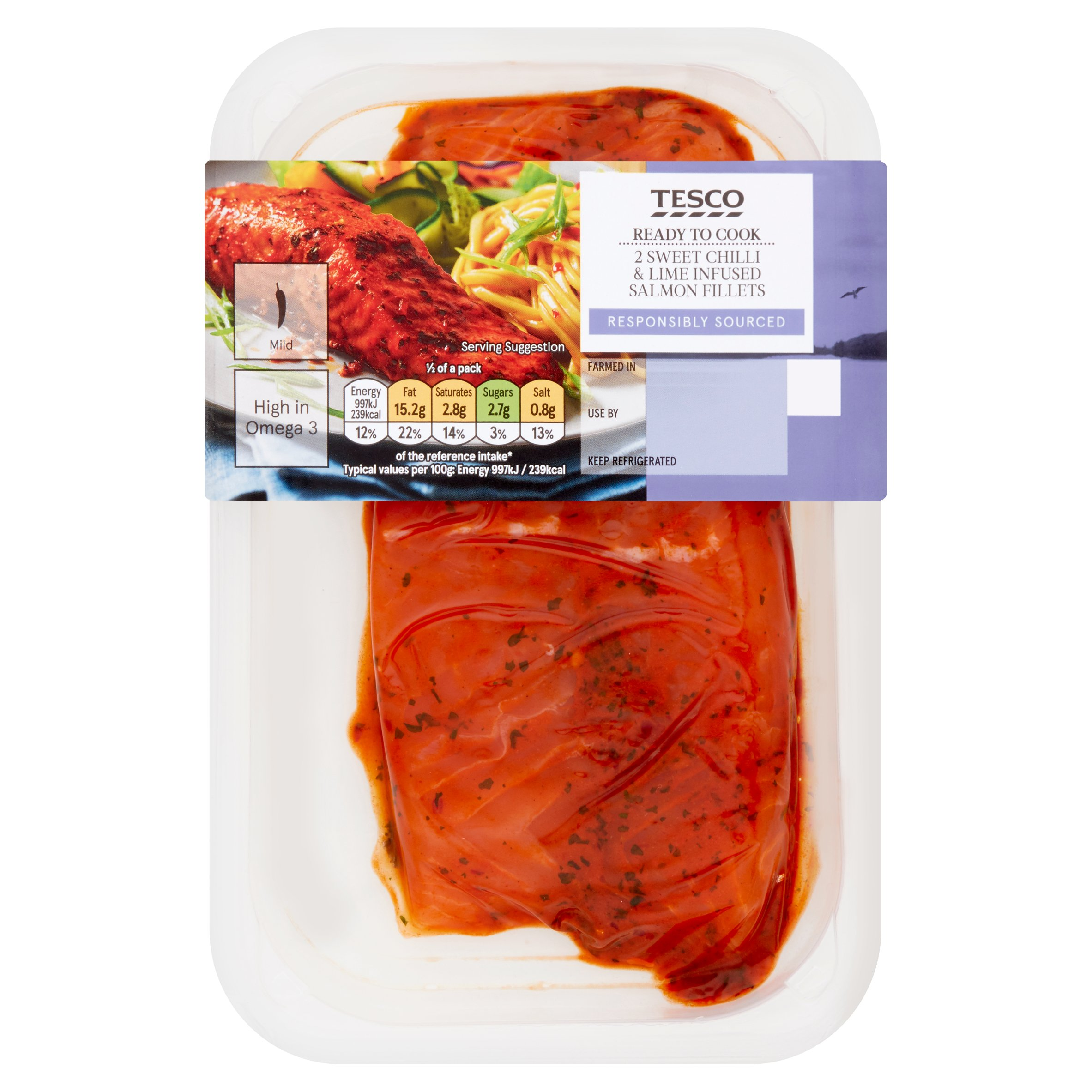 Tesco 2 Sweet Chilli & Lime Infused Salmon 230G
