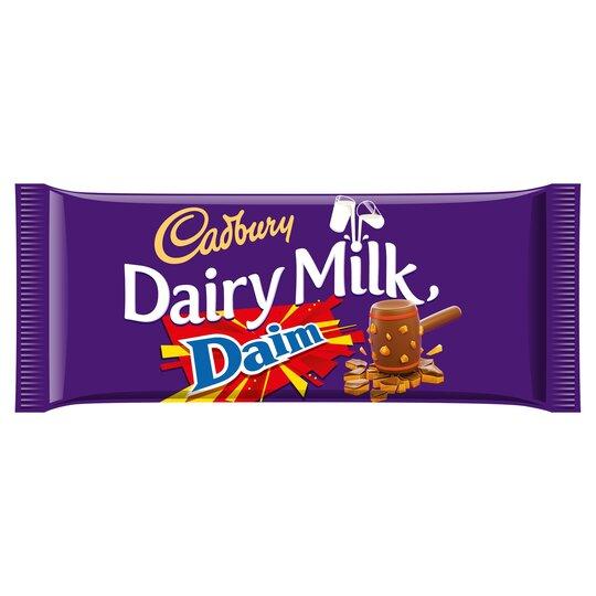 cadbury dairy milk daim chocolate bar 120g   tesco groceries