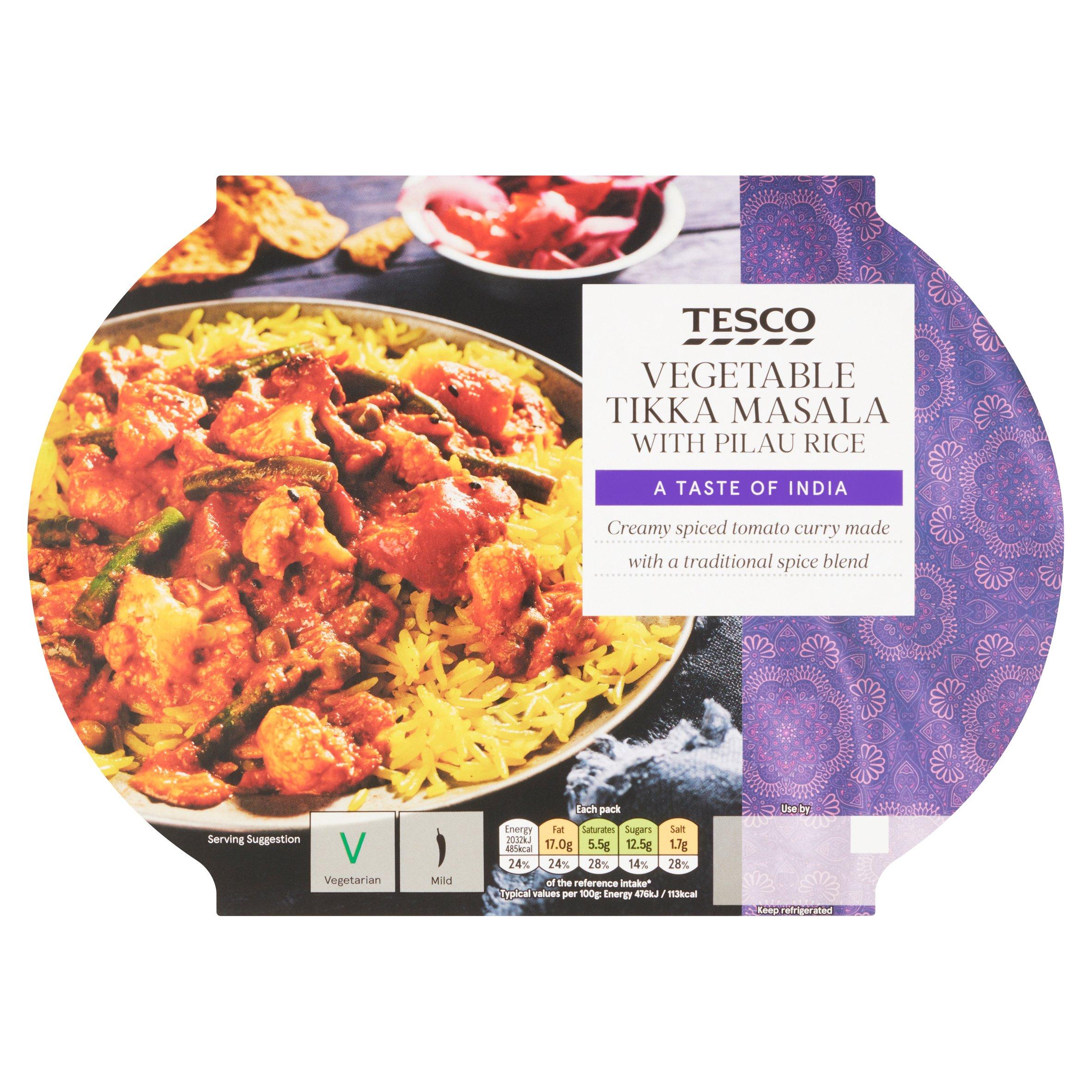 Tesco Vegetable Tikka Masala With Rice 450G