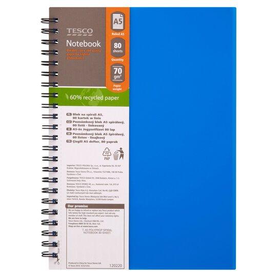 tesco a5 polypropylene spiral notebook 160 pages  tesco
