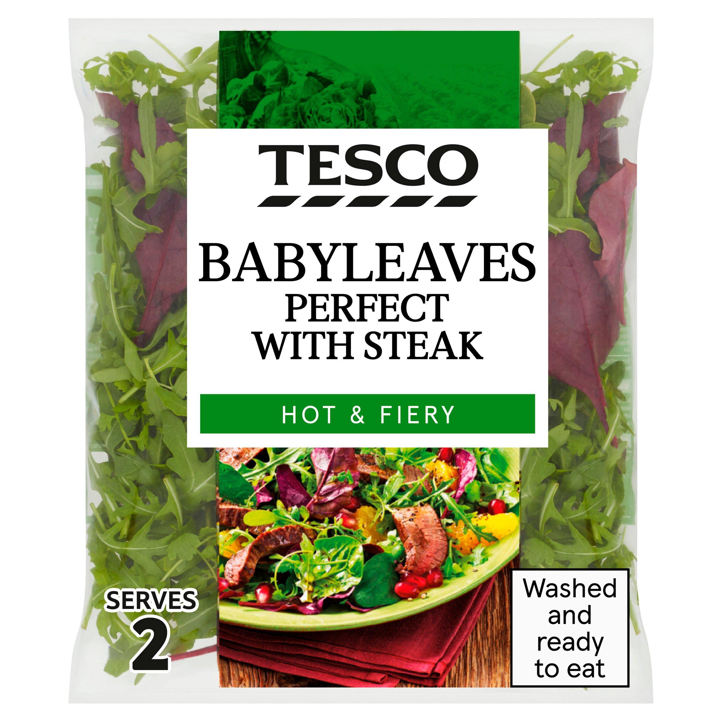 Tesco Babyleaves Perfect Steak Hot & Fiery 70G