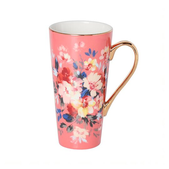 Fox Ivy Coral Floral Latte Mug Tesco Groceries