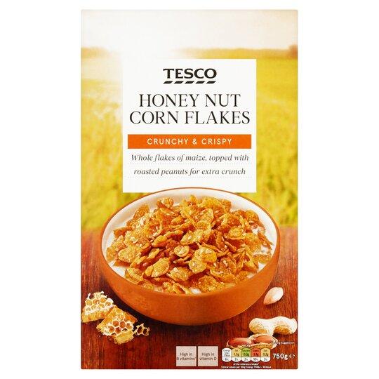 Tesco Honey Nut Cereal Cornflakes 750G