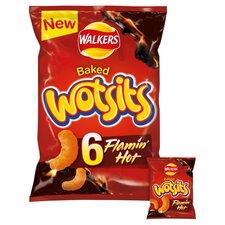 image 1 of Walkers Wotsits Flamin Hot Snacks 6 X 16G