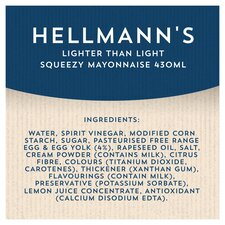 image 2 of Hellmann's Lighter Than Light Squeezy Mayonnaise 430Ml