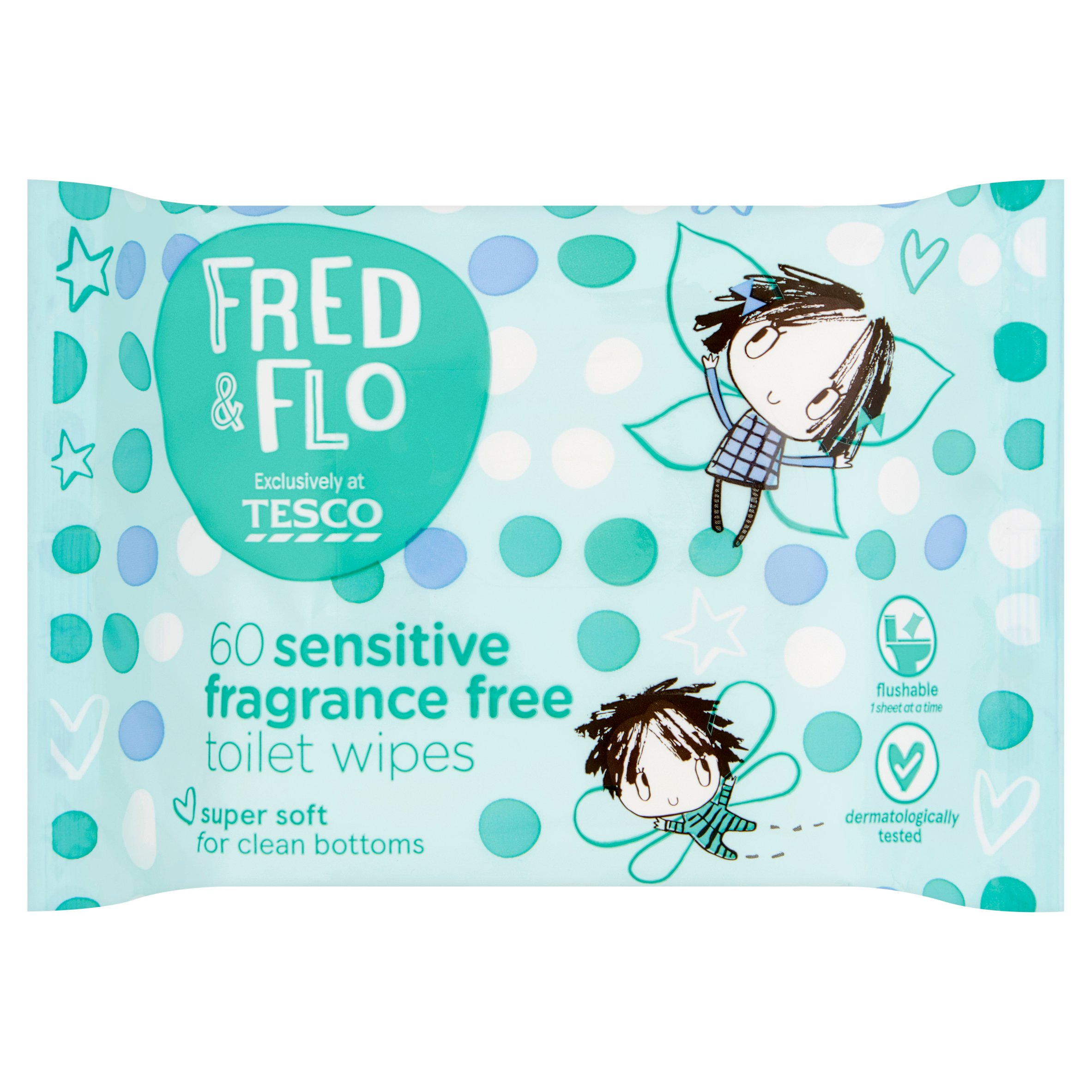 Fred & Flo 60 Sensitive Toilet Wipes