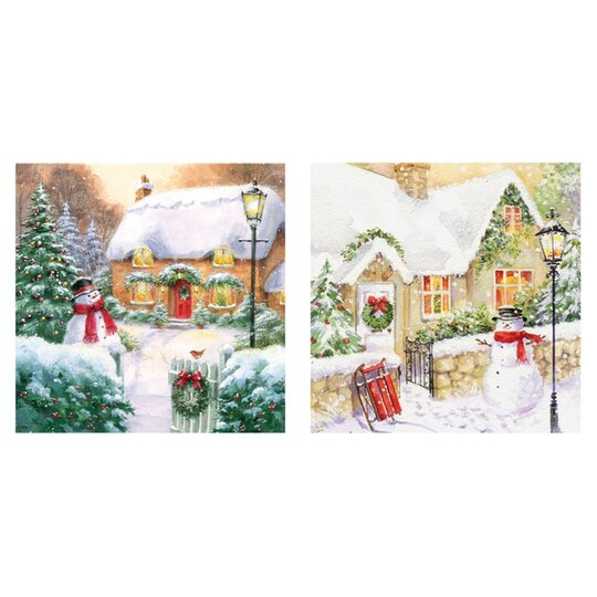 Tesco Christmas Cottage Cards 10 Pack