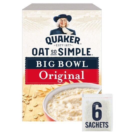 image 1 of Quaker Oat So Simple Big Bowl Original Porridge 6 Pack 231G