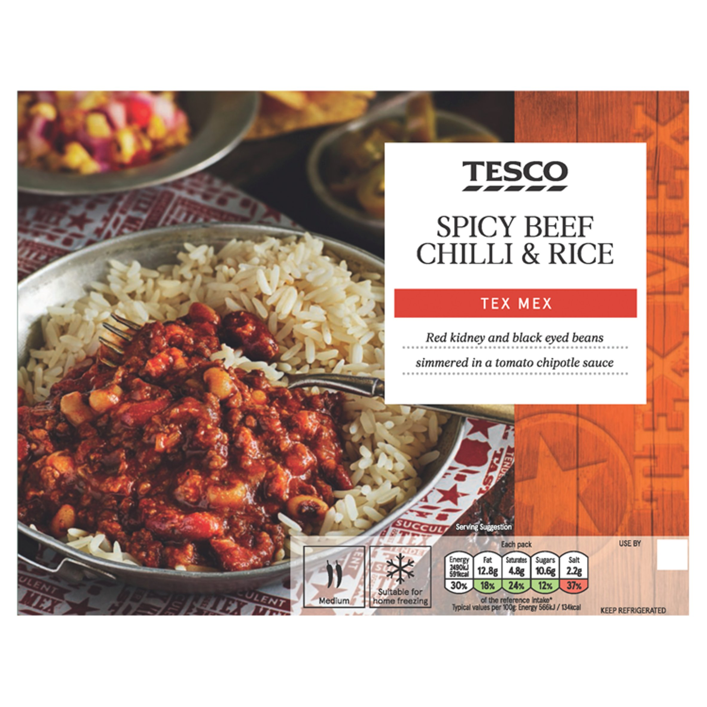 Tesco Spicy Beef Chilli & Rice 450G