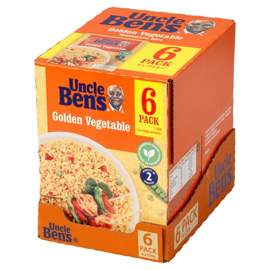 Uncle Ben's Golden Vegetable Microwave Rice 6 X 250G