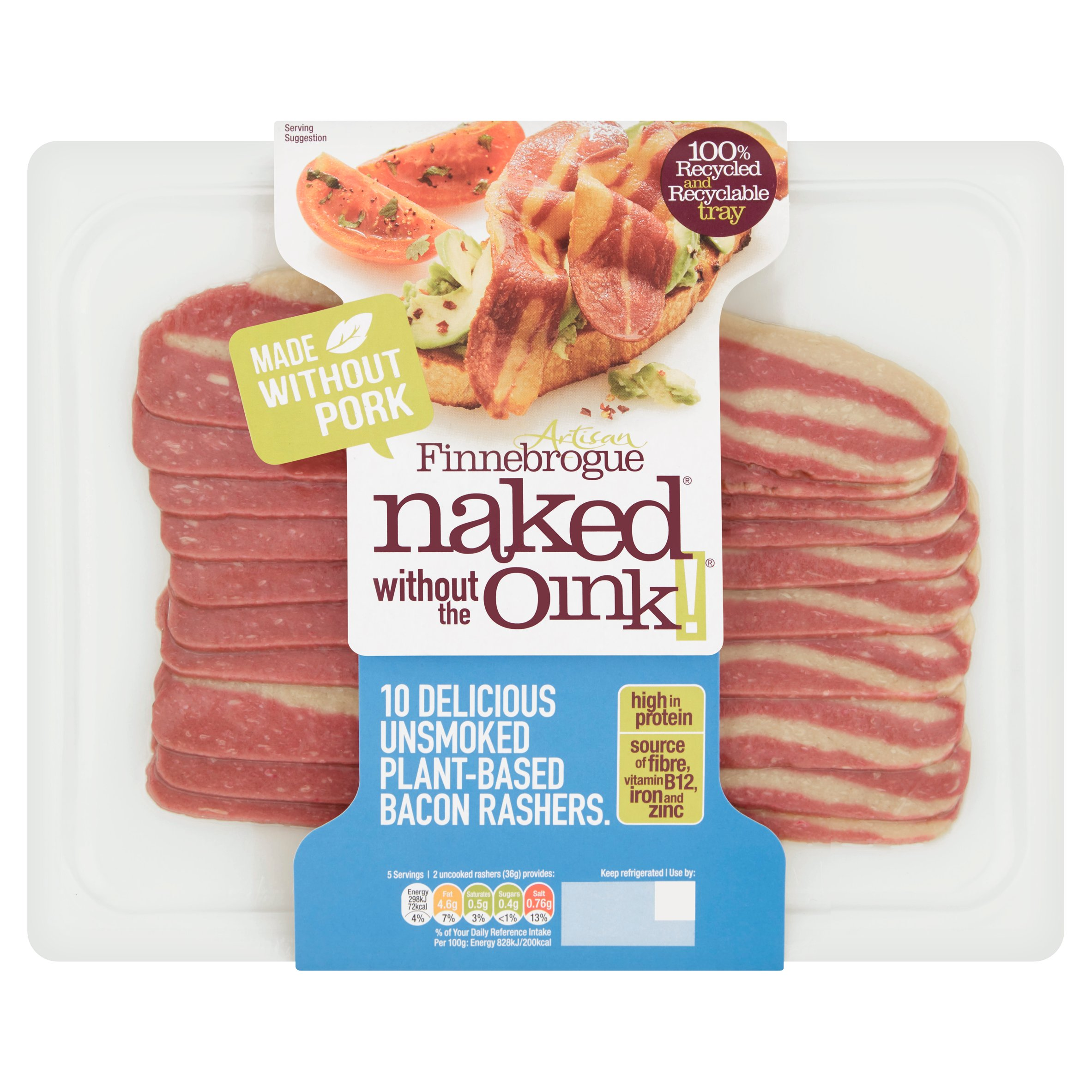 Naked Without The Oink Unsmoked Bacon Rashers 180G
