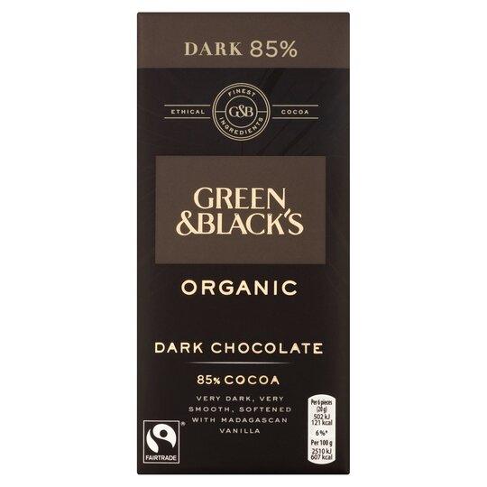 Green & Blacks Organic 85% Dark Chocolate Bar 100G