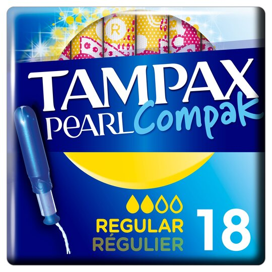 image 1 of Tampax Pearl Compak Regular Applicator Tampons 18