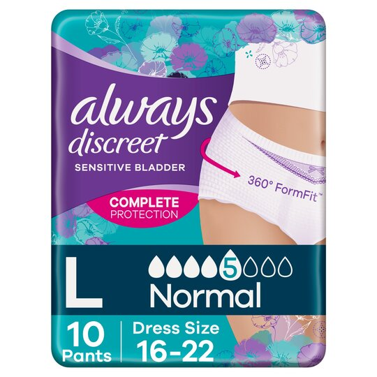 image 1 of Always Discreet Normal Large Incontinence Pants 10 Pack
