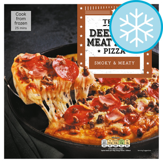 Tesco Deep Pan Meat Feast Pizza 386g Price Marked
