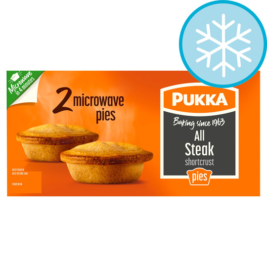 Pukka All Steak 2 Microwaveable Pies 418G - Tesco Groceries
