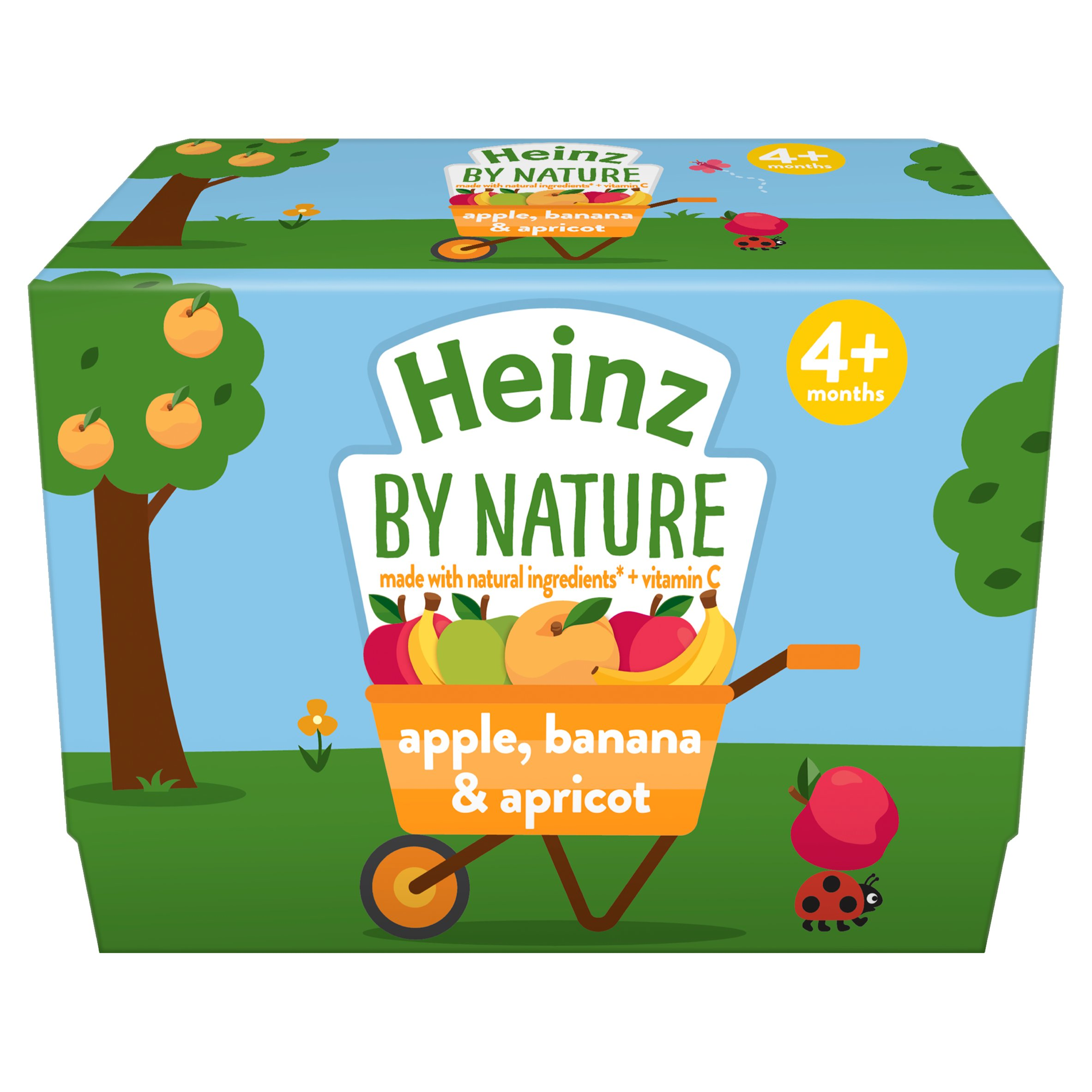 Heinz By Nature Apple Banana Apricot 4 Month Plus 4 X 100G