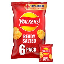 image 1 of Walkers Ready Salted Crisps 6X25g