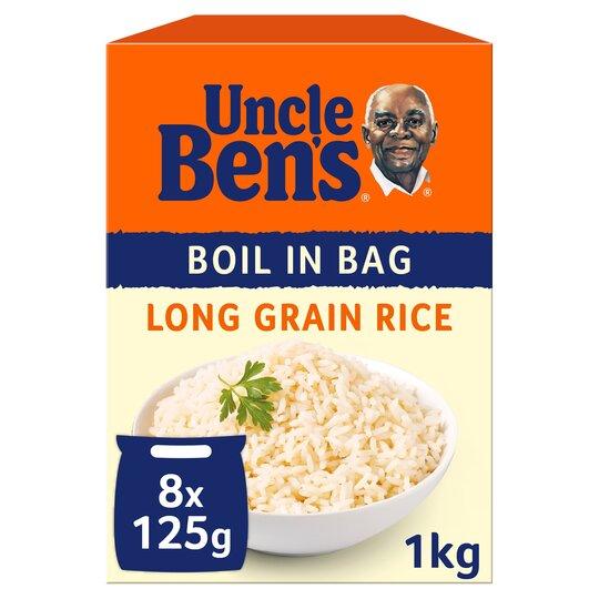 Uncle Bens Boil In Bag Long Grain Rice 8X125g