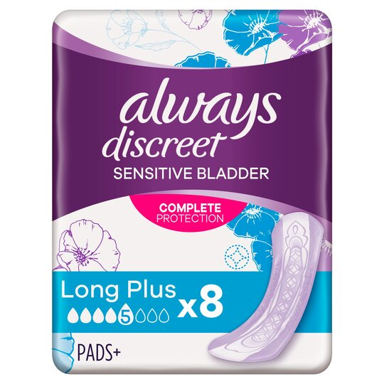 image 1 of Always Discreet Long Plus Incontinence Pads 8 Pack