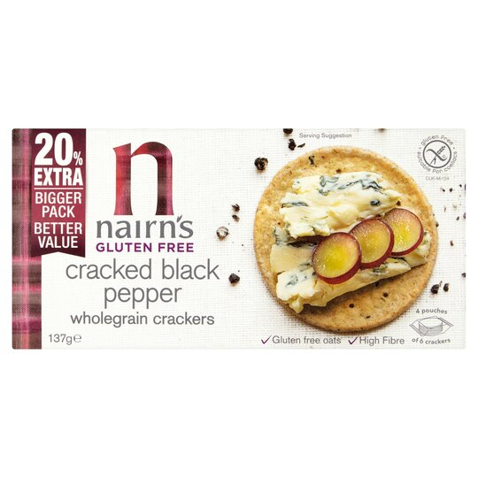 Nairns Gluten Free Pepper Crackers 137G
