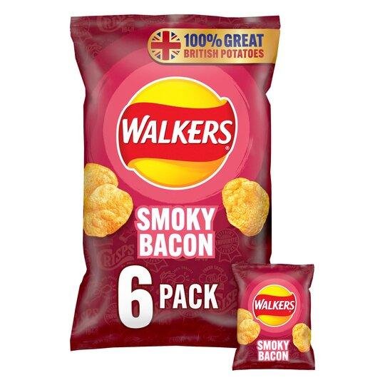 image 1 of Walkers Smoky Bacon Crisps 6X25g