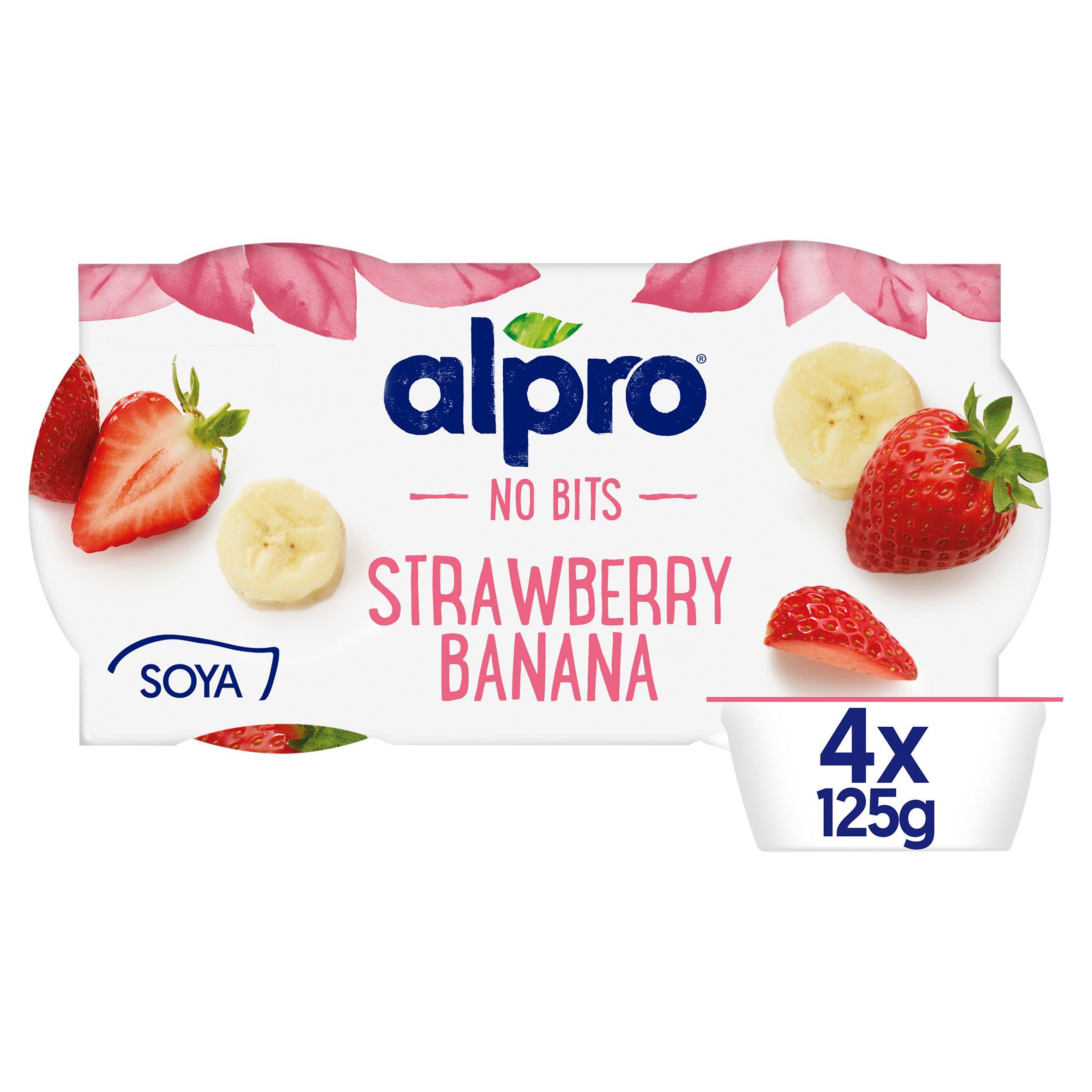Alpro No Bits Strawberry Banana Yogurt Alternative 4X125g