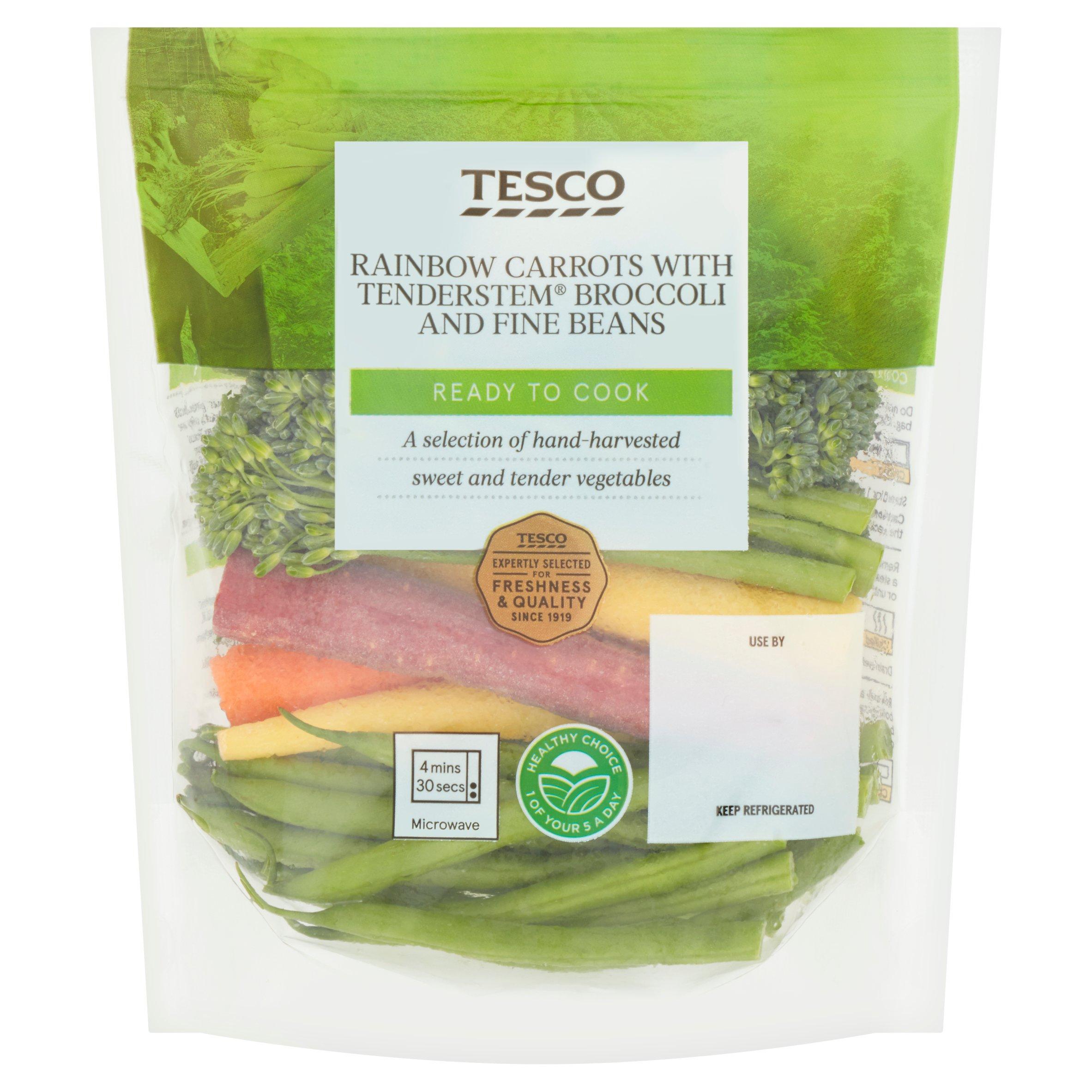 Tesco Rainbow Carrots With Tenderstem Broccoli, Fine Beans 180G