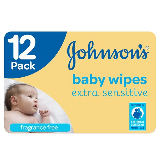 image 1 of Johnson's Baby Wipes Extra Sensitive 12 X 56 Pack