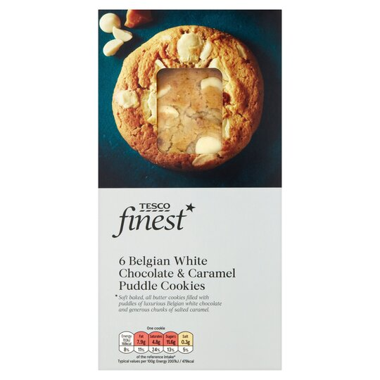 Tesco Finest 6 White Chocolate Caramel Puddle Cookie 210g