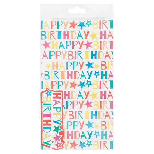 Tesco Kids Bright Happy Birthday 2 Sheets 2 Tags Tesco Groceries