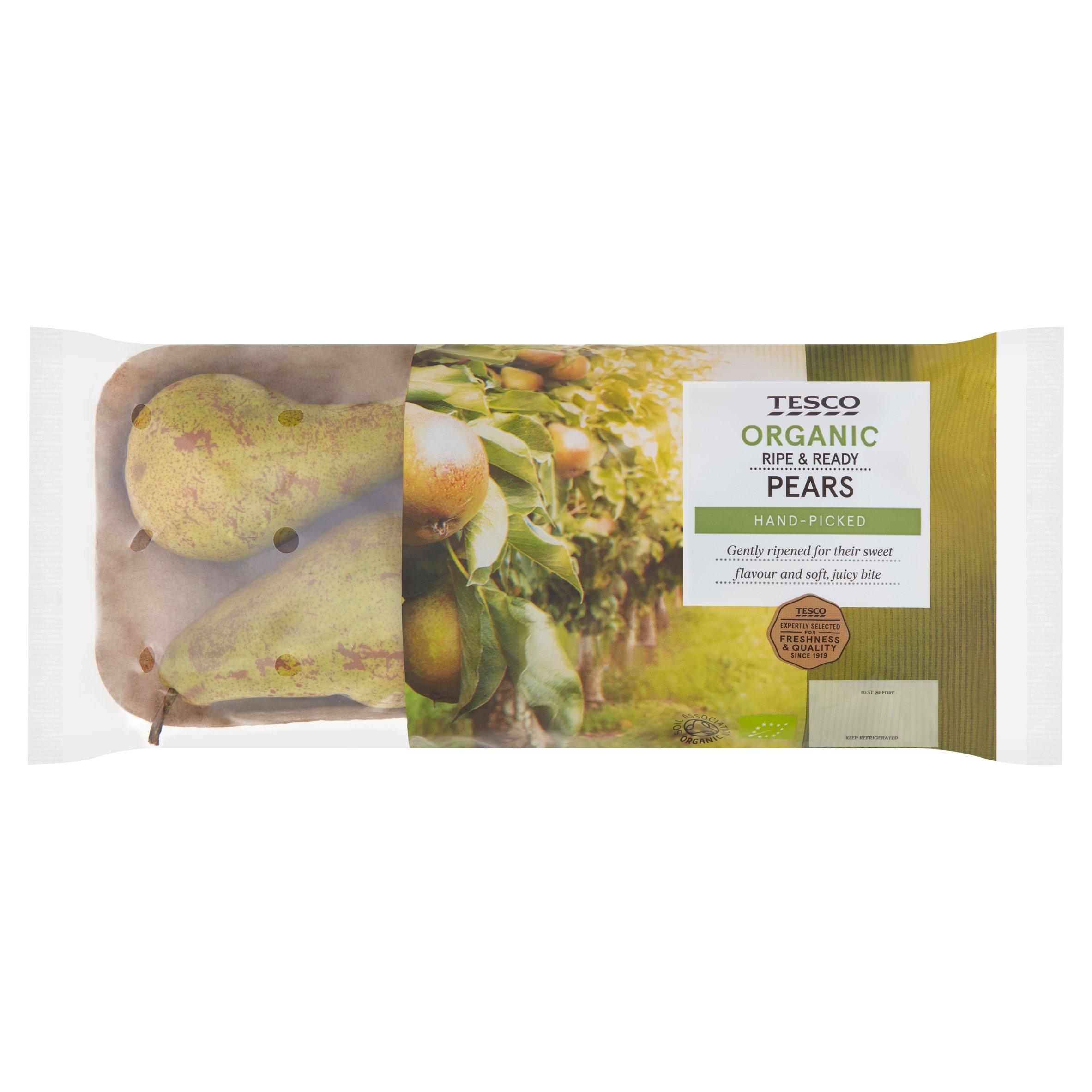 Tesco Organic Ripe & Ready Pears 550G