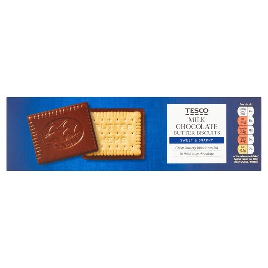 Tesco Milk Chocolate Butter Biscuits 125g