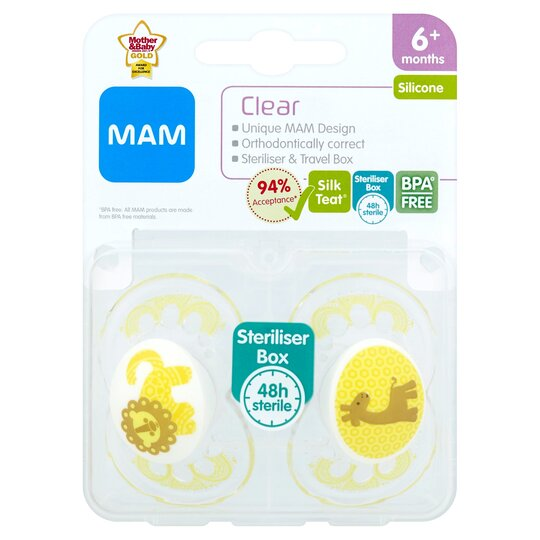 Mam Clear Silicone Sooavailable in various coloursther