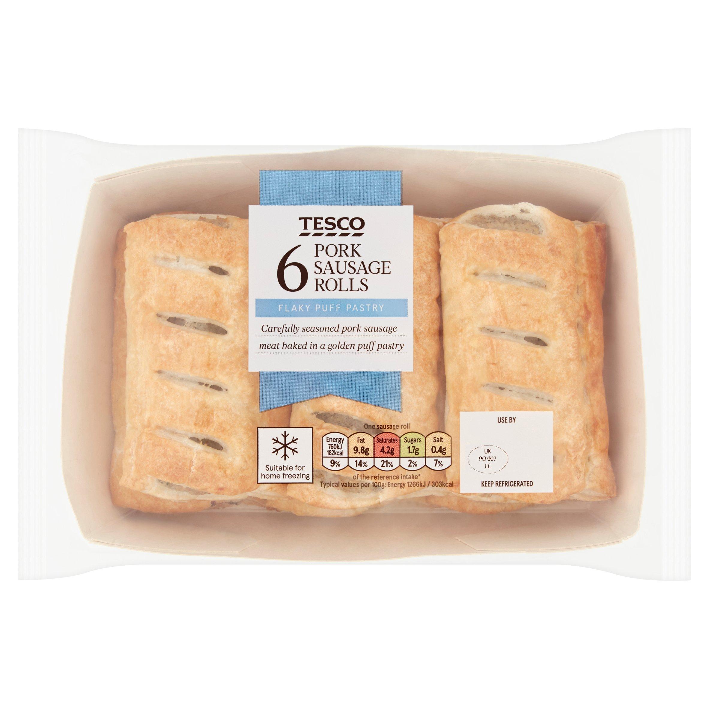 Tesco 6 Pack Sausage Rolls 360G