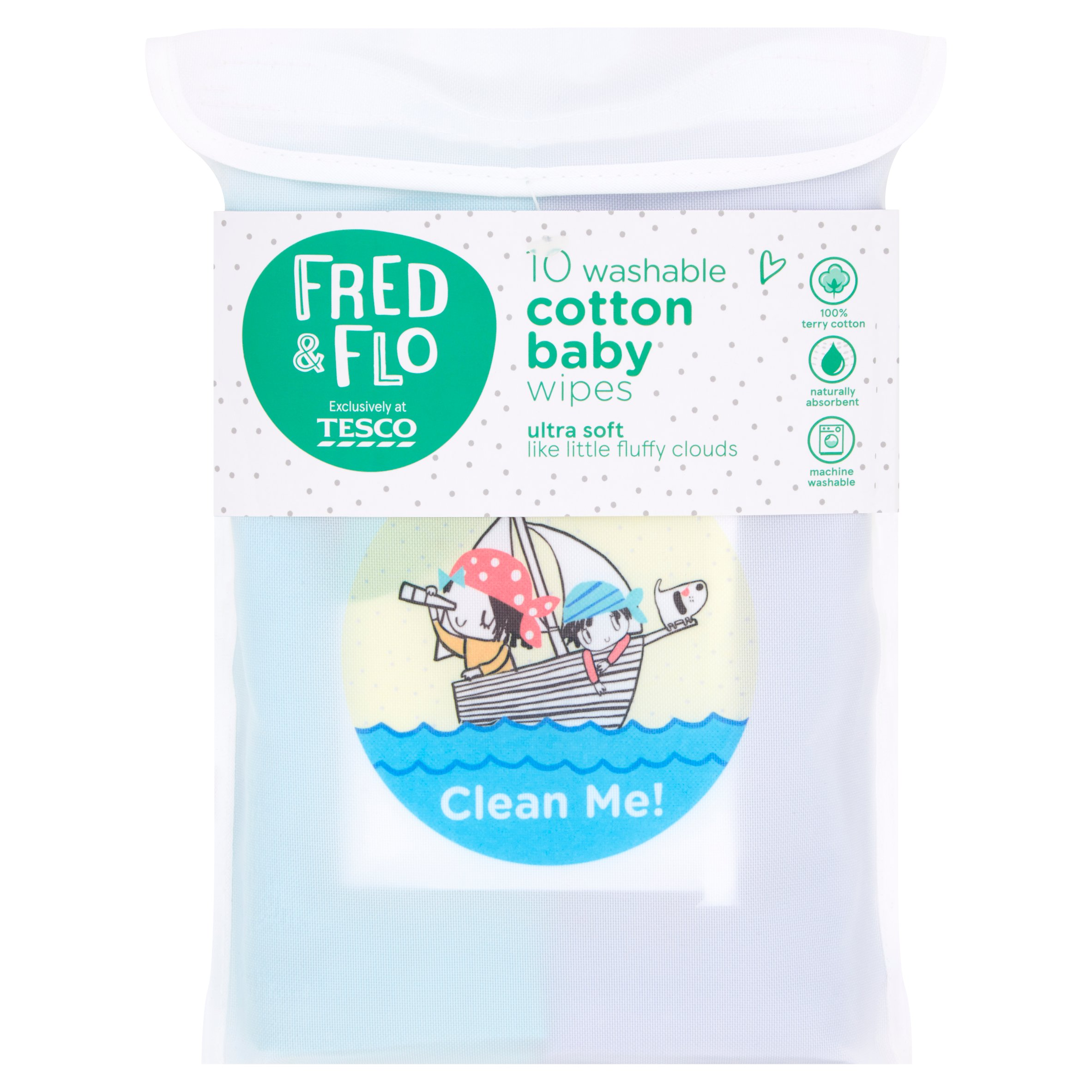 Fred & Flo 10 Washable Hand & Face Wipes