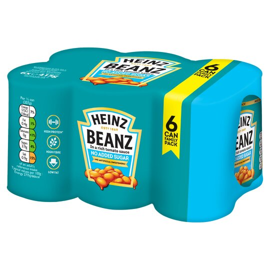 Heinz Baked Beans No Added Sugar 6 Pack 6 X 415G