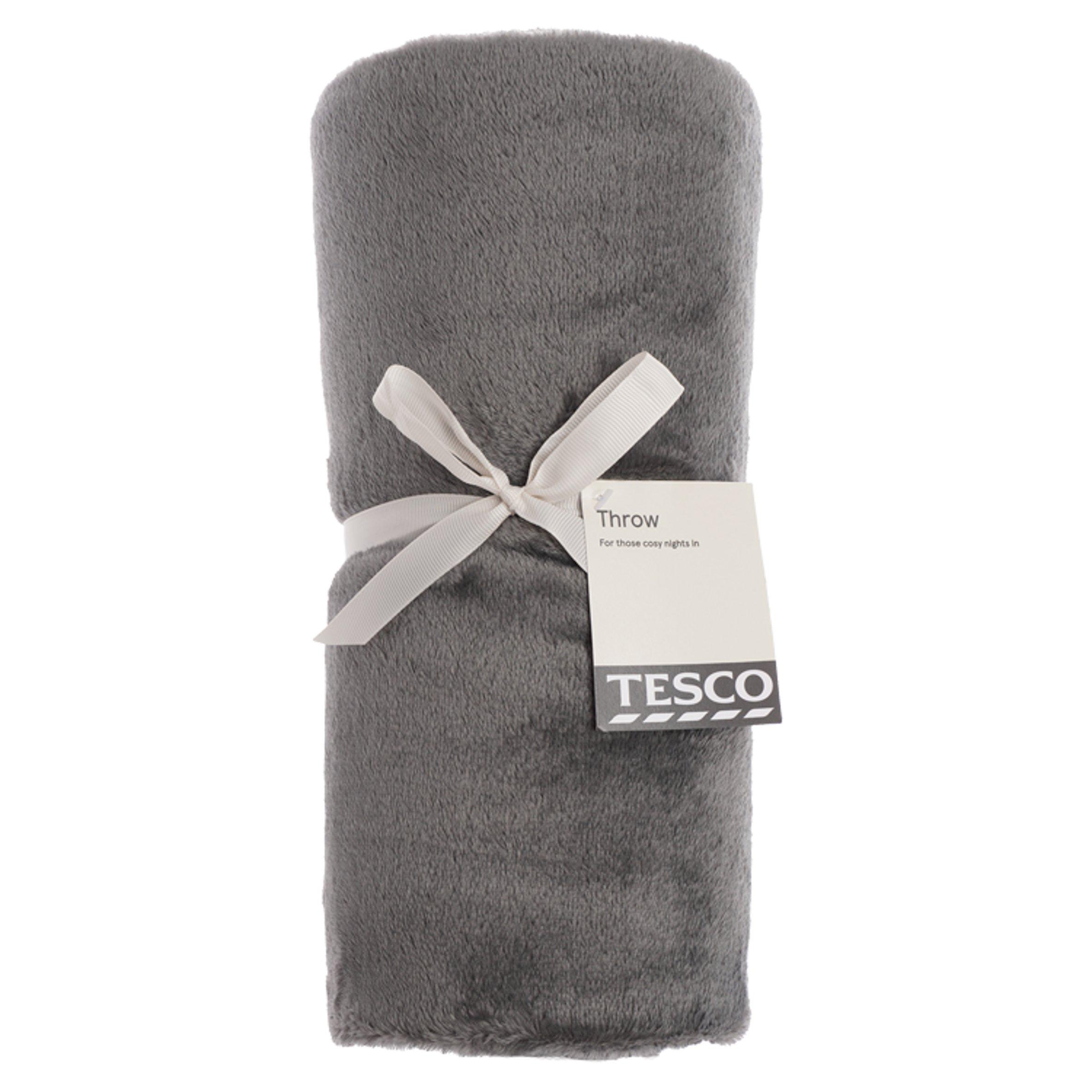 Tesco Super Soft Throw Dark Grey