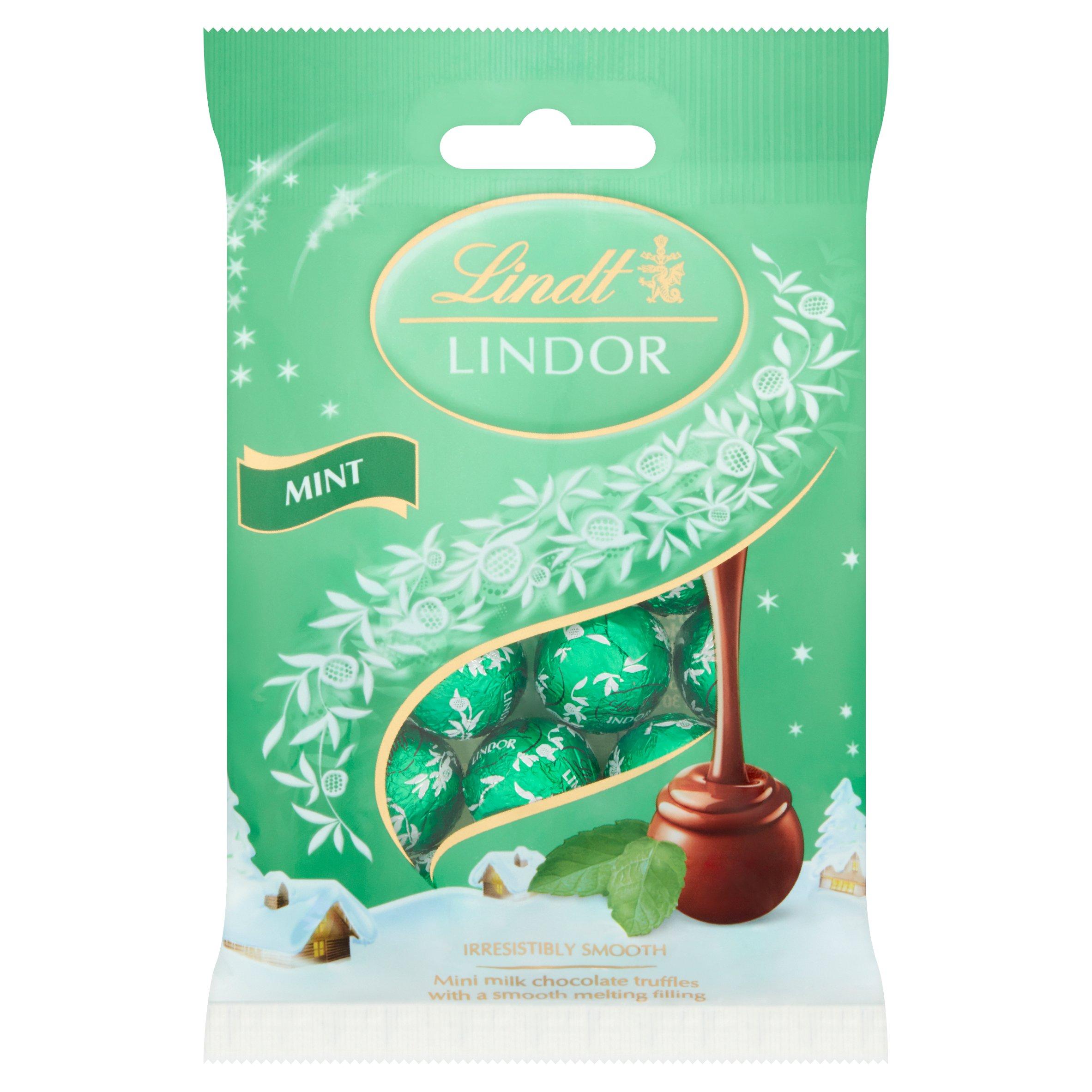 Lindt Lindor Mint Mini Milk Chocolate Truffles 80G
